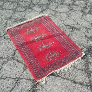 "Mini Red Bokhara Rug - 19"" x 26"""