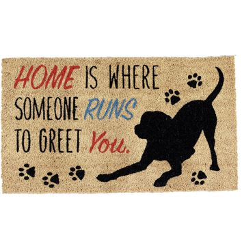 Dog Greeting Theme Coir Doormat