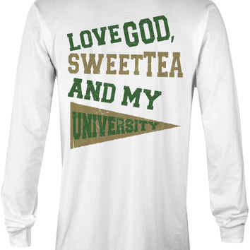 Love God, Sweet Tea and My University (Green/Gold)