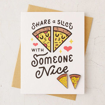 Valley Cruise Press Love Pizza Pin + Greeting Card - Urban Outfitters