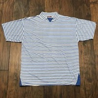 Vintage 1990s 90s Brittania White Blue Striped Tee Shirt Mens Streetwear L Large