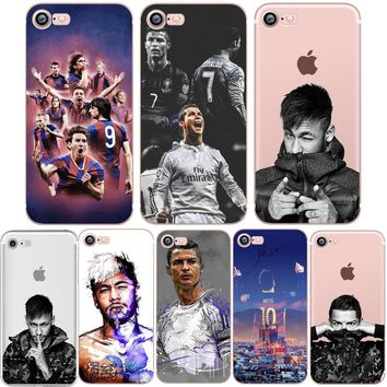 Phone Case for iphone 5S 7 8 6S 6 PLUS X 10 5 SE CR7 Ronaldo Messi Neymar Football Barcelona Soccer Soft Silicone Shell Capinha