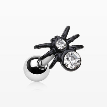 Blackline Sparkle Spider Cartilage Tragus Earring