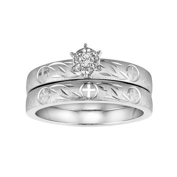 Love Always Diamond Accent Cross Engagement Ring Set in Sterling Silver (White)