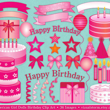 American Girl Dolls Birthday Clip Art, Pink cakes, bow, candles, balloon, presents, banners, letters, ribbons, hats, stars, Buy 2 Get 1 Free