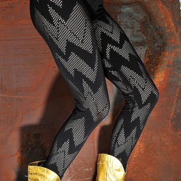 Electric Fishnet Lightning Bolt Leggings Stretchy by ZaylaMoon