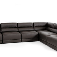 Divani Casa Hazel Modern Brown Eco-Leather Sectional Sofa