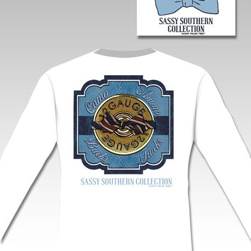 SALE Sassy Frass 12 Gauge Camo Ammo Bucks Trucks Bow Country Southern Long Sleeves Bright Girlie T Shirt