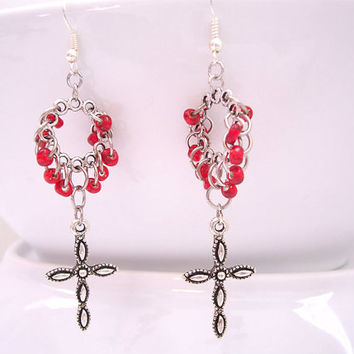 Cross Dangle Earrings - Christian Jewelry - Christian cross