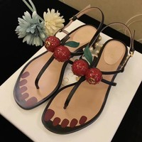 GUCCI Cherry GG Thong Women's Flat Flops Sandals