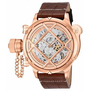 Invicta 14628 Men's Russian Diver Mechanical Grey Skeleton Dial Leather Strap Lefty Dive Watch