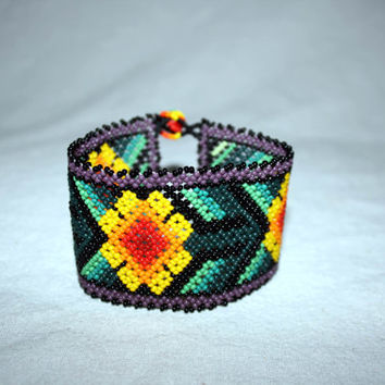 Large Native American Bracelet Huichol Bracelet Beadwork Huichol Mexican Jewelry Flowers Mexican Hippie Jewelry Hippie Bracelet Authentic