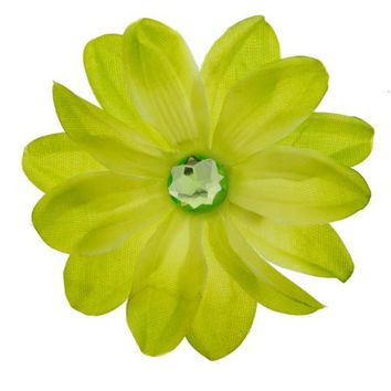 Totally Tropical Hair Flower Daisy Clip with Rhinestone Center Hat Colors: Lime Green