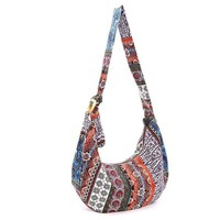 Women's Thai Style Hippie Hobo Soulder Handbags Large Crossbody Messenger Bag Floral Print Purse