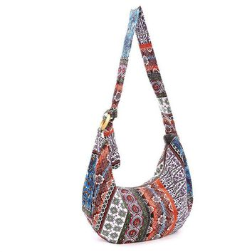 Thai Style Hippie Hobo Shoulder Handbags Large Crossbody Messenger Bag Floral Print Purse