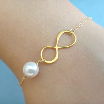 Set of 2-10, Gold filled, Sterling silver, White, Pearl, Infinity, Gold, Silver, Bracelet, Sets, Wedding, Baby shower, Reunion, Gift