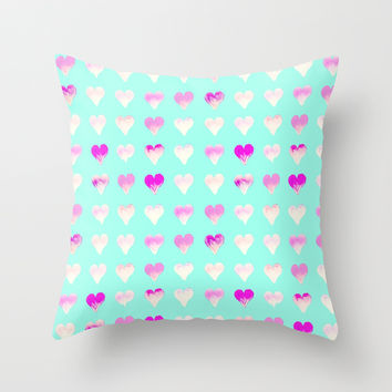 *** Girly Hearts *** Throw Pillow by Monika Strigel for your cute teenbedding