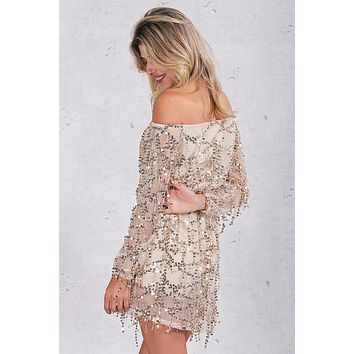 Sequins Off the Shoulder Dress