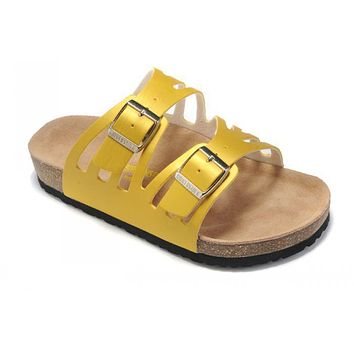 Birkenstock Granada Sandals Leather Yellow - Ready Stock
