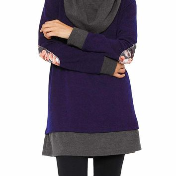 Indigo Gray Elbow Patch Cowl Neck Tunic Dress