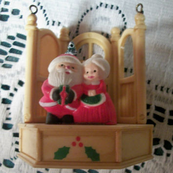 Celluloid Christmas Tree Ornament Santa and Mrs. Claus Figurine Vintage 1940's Collectible Holiday Home Decoration