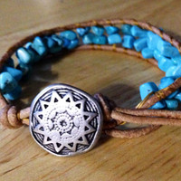 Handcrafted OOAK Southwestern inspired Leather turquoise nugget gemstone single wrap bracelet with silver star button closure!
