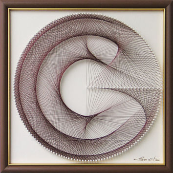 Handmade Wall Art Zen -in White Coffee Brown - 3D Abstract String Art - Framed Beautiful Sacred Geometry - a special Gift for Home or Office