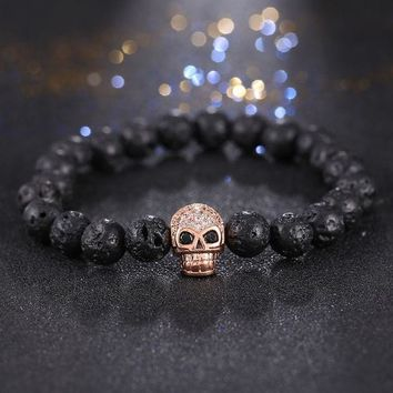 2017 Men Bracelets Skull Micro Inlay Zircon Natural Stone Bead Buddha Bracelets For Women Men Black Lava Bracelet Pulseras Muje