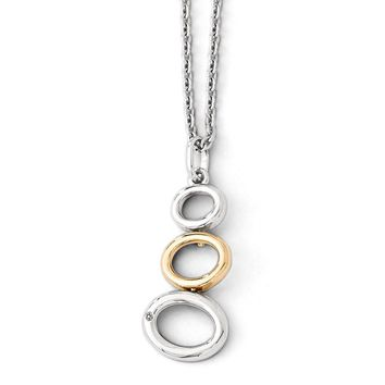 Descending Circle Diamond Necklace in Rhodium Gold tone Plated Silver