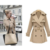 Hot Selling New Arrival European and American style women's trench coat Qiu dong double-breasted coat jacket coat