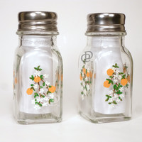 Glass Salt Pepper Set Hand Painted Orange Blossoms