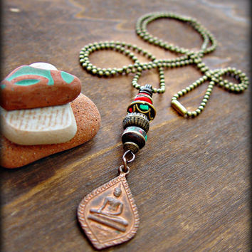 Boho Buddha Necklace - Boho Necklace - Yoga Necklace - Boho Jewelry - Yoga Jewelry - Buddha Necklace - Tibetan Necklace