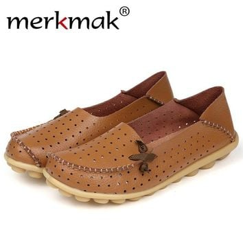 Merkmak Women's Shoes Fashion Breathable Loafer Dress Footwear Big Size Hole Design Female Flats Moccasin Sapatos Free Shipping