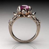Nature Inspired 14K Rose Gold 2.0 Carat Oval Pink Sapphire Diamond Lotus Flower Engagement Ring R1013-14KRGDPS