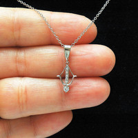 Sterling Silver Crossbow Charm Necklace, Arrow Necklace, Dainty CZ Diamond Necklace, Bow and Arrow Necklace
