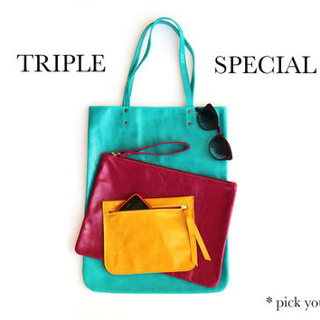 Triple - Tote & Clutch & Pouch by Leah Lerner