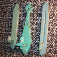 3 Distressed Beach Themed Wall Candle Holders