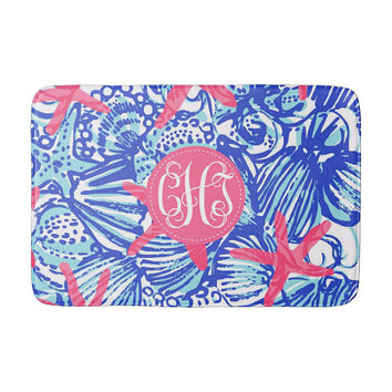 Lilly Pulitzer Inspired She She Shells Memory Foam Monogram Bath Mat