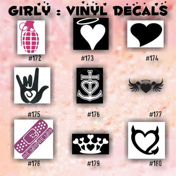 Girly vinyl decals 172 180 car decal girly stickers fair