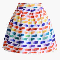 White Color Palette Print Pleated Skater Mini Skirt