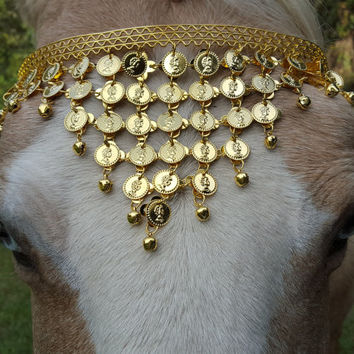 Gold Coins Browband for Horse or Draft in Gold Finish - Equine Bling Tack Jewelry - for Steampunk, Egyptian Dancer, Goth, Pirate Costumes