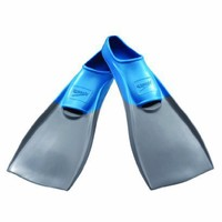 Speedo Rubber Swim Fins (Grey/Blue, Medium)