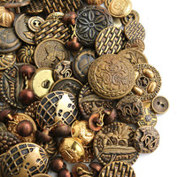 Huge Vintage & Antique Brass Button Lot - Over 120 Gold Tone Supply Buttons / Destash Ornate Findings
