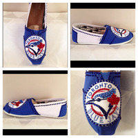 Toronto Blue Jays womans shoes,Navy classic Toms, hotfix rhinestones ,Blue Jays apparel free shipping, Toronto Blue Jays custom Toms