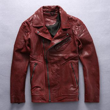 men's slim fit motorcycle jacket red black Vegetable tanned sheepskin lapel genuine leather jacket men fashion biker coat male