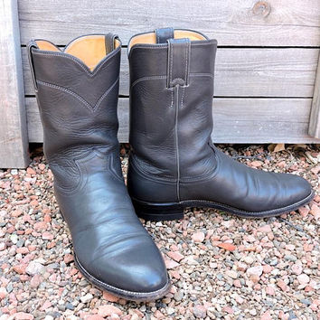 Justin boots mens 9.5 D  /  Justin Ropers USA / vintage cowboy boots / dark smokey gray leather western boots