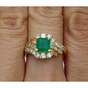 Princess Cut Green Emerald Ring with Round and Baguette Diamonds 14K