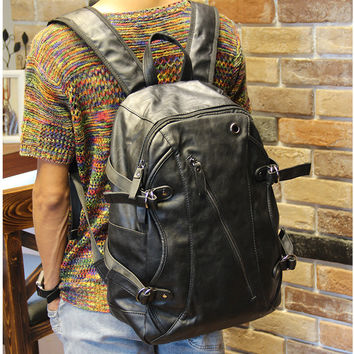 Vintage Men's Black Large Laptop Bag Leather Backpack