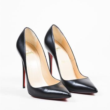 DCCK2 Christian Louboutin Black Leather Pointed Toe So Kate 120 Pumps