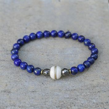 Compassion and Life - Lapis Lazuli and Bone Bracelet